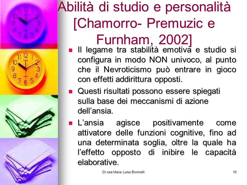 Abilità di studio e personalità [Chamorro- Premuzic e Furnham, 2002]